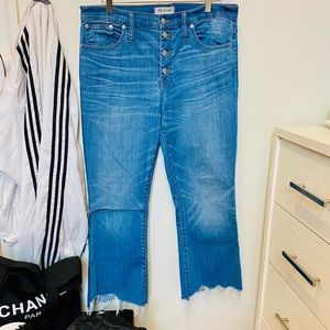 Madewell Cali Demi-Boot Chewed Hem Buttonfly Jeans